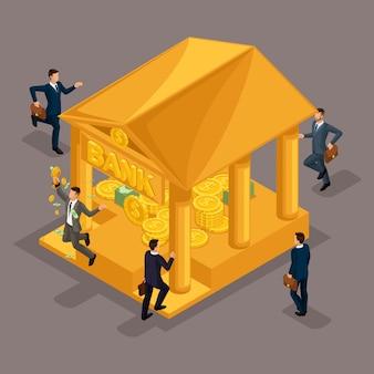 Trendy isometrische mensen, zakenman, grote stapel geld. honderden dollars in een bank, deposito, lening, hypotheek, goud, toekenning, zakenmensen geïsoleerd op een donkere