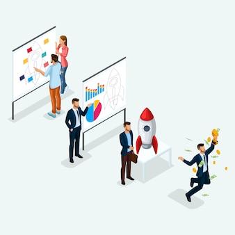 Trendy isometrische mensen, zakenman, ontwikkeling van start-up, pad naar succes, creatieve jongeren, team van professionals, bedrijfscreatie, raket op licht