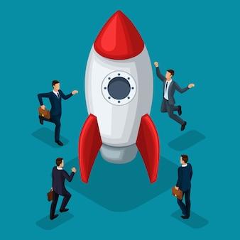 Trendy isometrische objecten, raket, zakenlieden oprichting van start-up, vreugde van succes, concept met jonge zakenman, nieuwe businessplan project zakenmensen