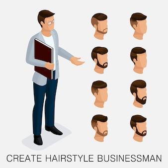 Trendy isometrische set 3, kwalitatieve studie, een set herenkapsels, hipsterstijl. mode styling, baard, snor