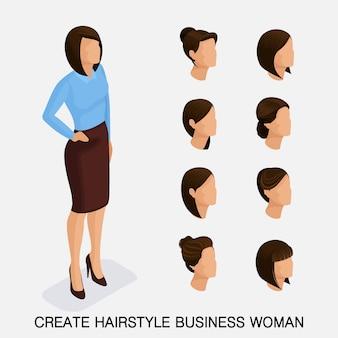 Trendy isometrische set 5, kapsels voor vrouwen. jonge zakenvrouw, kapsel, haarkleur, geïsoleerd. maak een afbeelding aan
