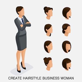 Trendy isometrische set 7, kapsels voor vrouwen. jonge zakenvrouw, kapsel, haarkleur, geïsoleerd. maak een afbeelding aan