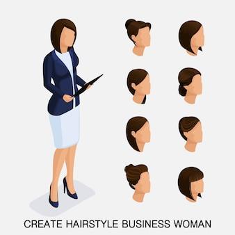 Trendy isometrische set, kapsels voor vrouwen. jonge zakenvrouw, kapsel, haarkleur, geïsoleerd. maak een afbeelding van de moderne zakenvrouw. vector illustratie
