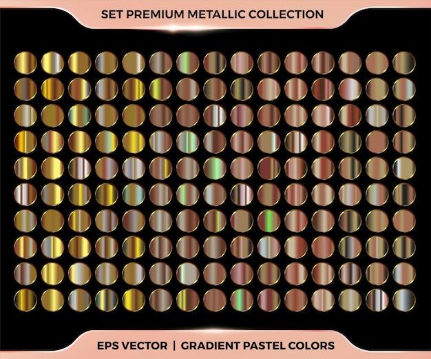 Trendy kleurrijke gradiënt rose goud, koper, brons combinatie collectie van metalen pastel paletten sjablonen