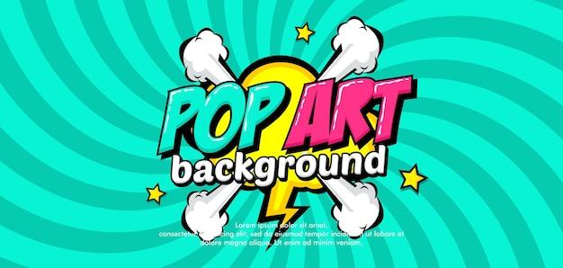 Trendy kleurrijke pop-artachtergrond met wolk