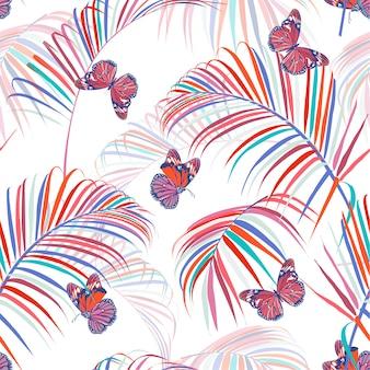 Trendy kleurrijke tropische en palmbladen naadloze patroonvector