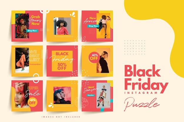 Trendy kleurrijke zwarte vrijdag sociale media puzzel sjabloon