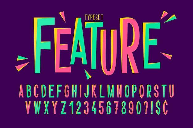 Trendy komisch gecondenseerd lettertypeontwerp