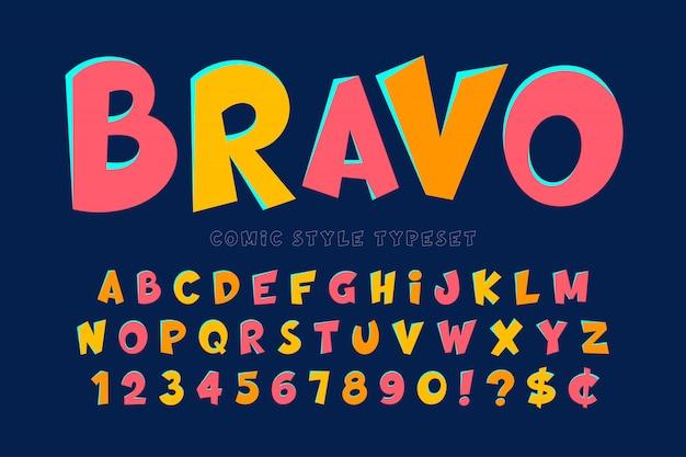 Trendy komisch lettertype ontwerp