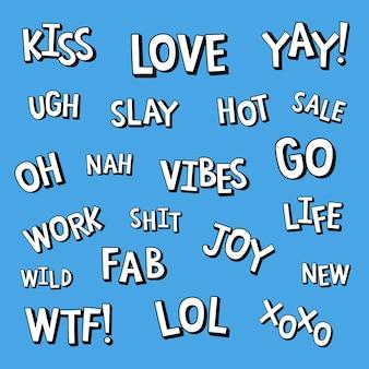 Trendy komische typografie set