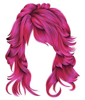 Trendy krullend rood haar. realistische 3d. bolvormig kapsel. mode.
