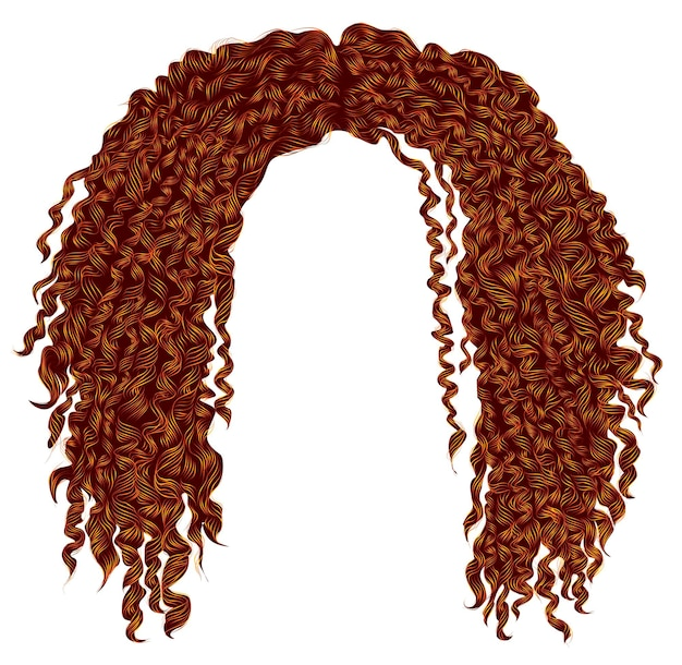 Trendy krullend verward afrikaans rood haar. realistische 3d. unisex afro