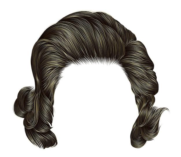 Trendy krullende haren blonde kleur. gemiddelde lengte. schoonheid stijl. realistische 3d.