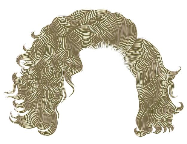 Trendy krullende haren blonde kleuren. franje. realistische 3d.