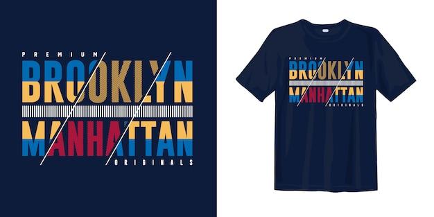 Trendy kunst typografie t-shirt design. brooklyn manhattan
