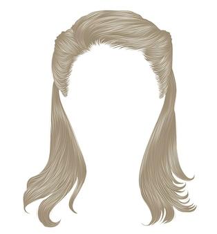 Trendy lange haren blonde kleuren. realistische 3d.retro