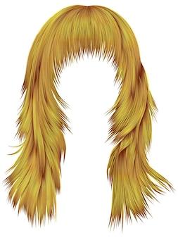 Trendy lange haren felgele kleuren. realistische 3d