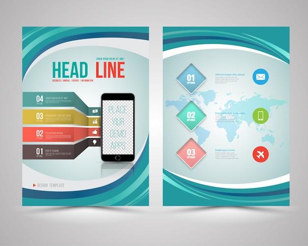 Trendy lay-out van het grafische ontwerp met slimme telefoon