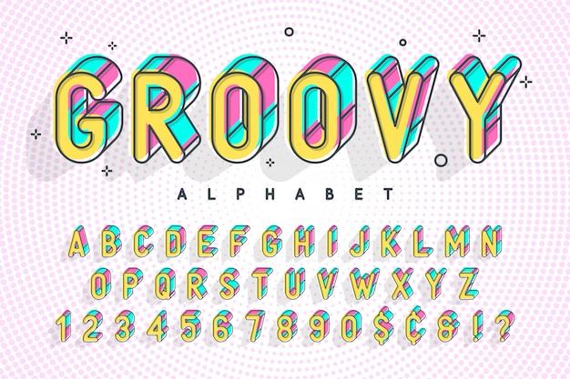 Trendy lettertype popart, alfabet, letters en cijfers