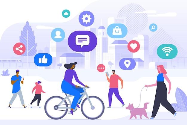 Trendy levensstijl platte vectorillustratie. gelukkige mensen in stadspark stripfiguren. internettechnologie in het concept van het dagelijks leven. draadloze verbinding, communicatienetwerk, modern tijdverdrijf