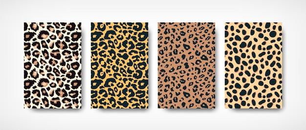 Trendy luipaardvel patroon achtergronden instellen. hand getekend wilde dieren vlekken abstracte textuur