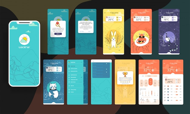 Trendy mobiele app weer widget ui kit sjabloon set