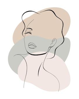 Trendy mode contour tekening lineart portret van een mooi meisje abstract gezicht minimalisme