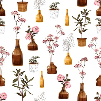Trendy modern naadloos patroon met creatieve decoratieve bloemen in vaas, botanisch in pot, in vector zich verwaardigt voor manier, stof, behang, het verpakken en al drukken