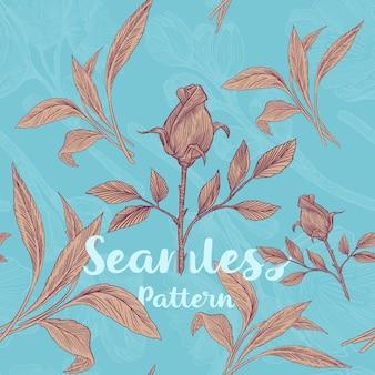 Trendy naadloos bloemenpatroon met rozen en bladeren vectorillustratie
