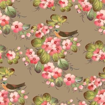 Trendy naadloos bloemenpatroon met vogels. illustratie