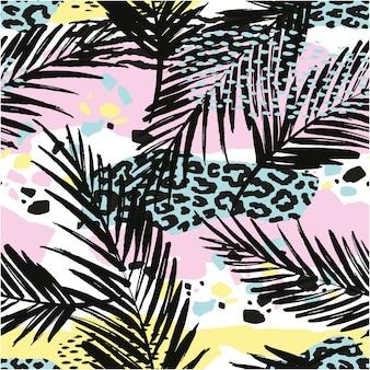 Trendy naadloos exotisch patroon met palm, dierenprints en handgetekende texturen.