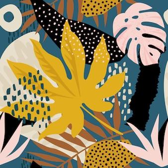 Trendy naadloos exotisch patroon met tropische planten en dierenprints.