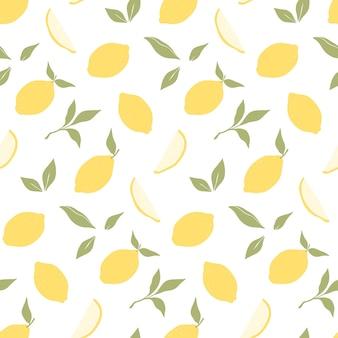 Trendy naadloos patroon met hand getrokken citroenen.