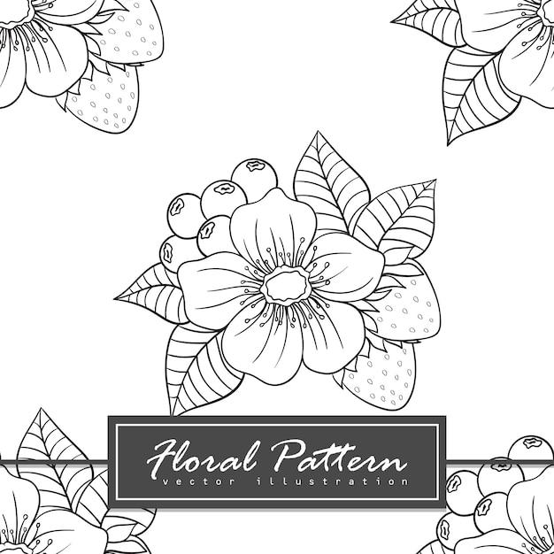 Trendy naadloze bloemmotief doodle stijl illustratie