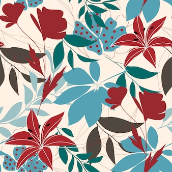 Trendy naadloze patroon met kleurrijke tropische bladeren en bloemen