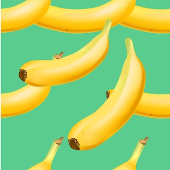 Trendy naadloze patroon met realistische bananenbos realistische vectorillustratie