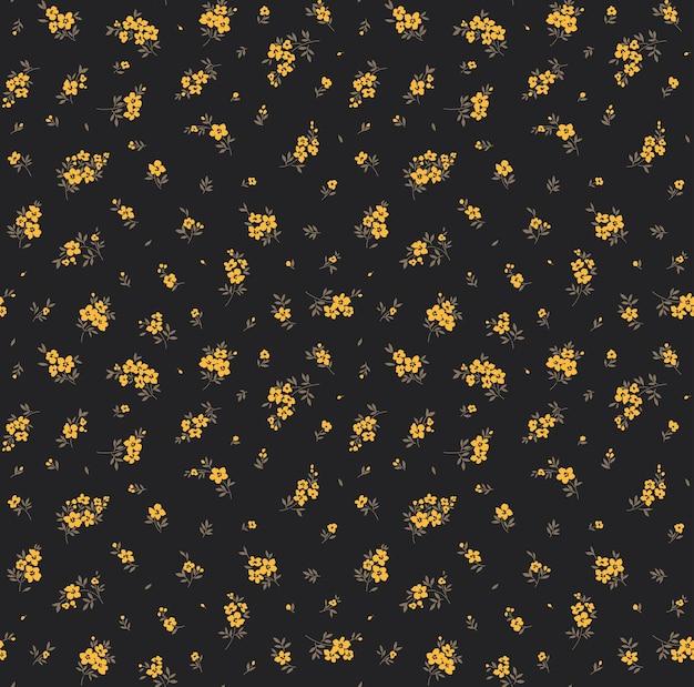 Trendy naadloze vector bloemmotief naadloze print gele bloemen zwarte achtergrond