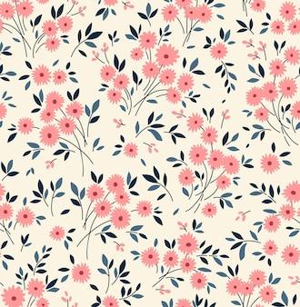 Trendy naadloze vector bloemmotief naadloze print schattige roze madeliefjebloemen witte achtergrond
