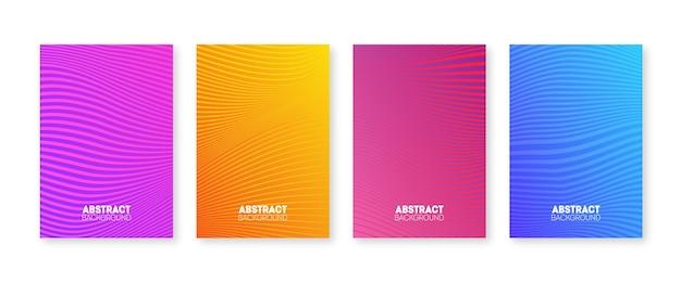 Trendy nieuwe hoescollectie. geometrische lijnen en kleurrijk verloop. minimale jaarverslag ontwerp vector