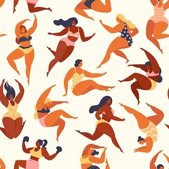 Trendy patroon met meisjes in de zomerzwempakken
