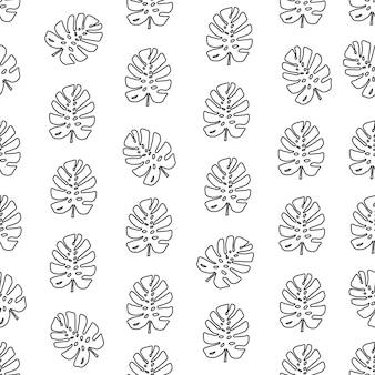 Trendy patroon met tropische bladeren monstera silhouetten vector botanische illustraties bloemen