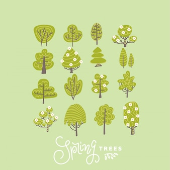 Trendy platte bomen en bloemen instellen illustratie. bloeiende bomencollectie in scandinavische stijl.