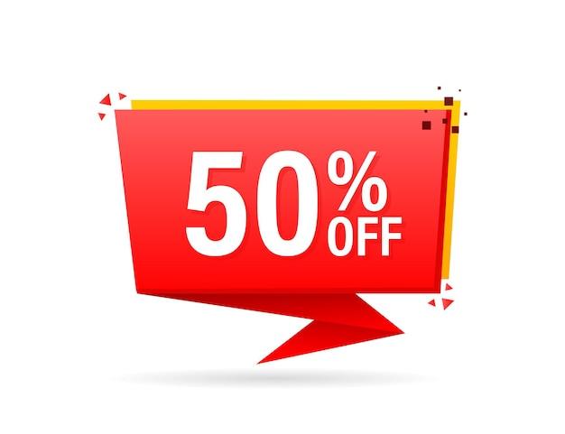 Trendy platte reclame met rode platte badge met 50 korting voor promo-ontwerp