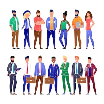 Trendy platte zakenmensen en freelancers instellen