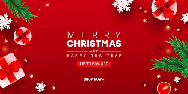 Trendy prettige kerstdagen en gelukkig nieuwjaar illustratie met decor geschenkdoos, sneeuw