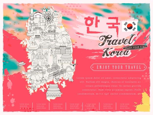 Trendy reiskaart van zuid-korea met overvloedige attracties - korea in koreaanse woorden rechtsboven