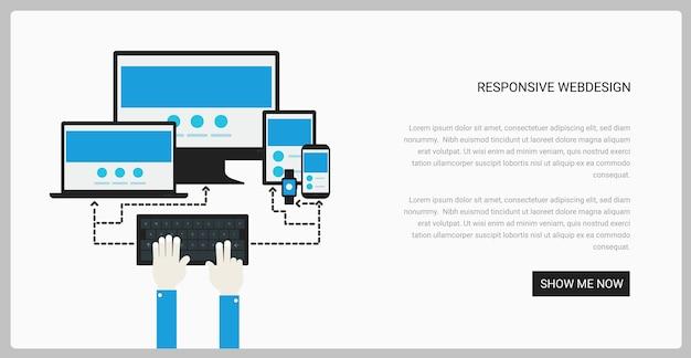 Trendy responsive webdesign technologie pagina ontwerpsjabloon