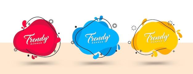 Trendy set van abstracte banners. vector heldere sjabloonbanners.