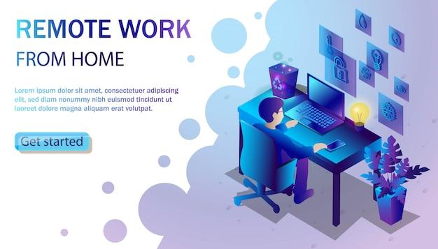Trendy stijl illustratie met man aan het bureau met laptop werkt. freelance en thuiswerken vanuit huis concept.