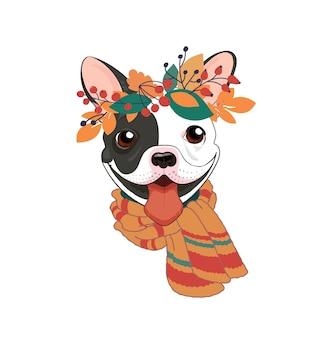 Trendy stoere herfstposter met franse bulldog